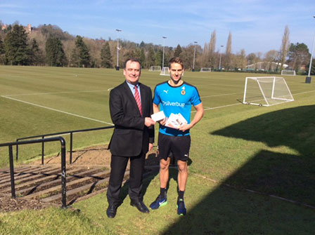 Dave Edwards receiving Cheque
